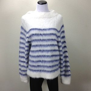 NWT H&M Blue-White Striped Oversized Fuzzy Sweater